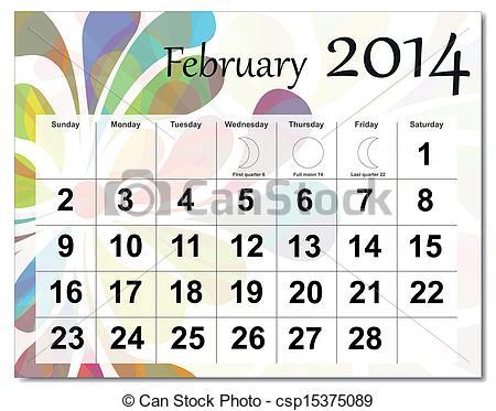 Free february 2014 calendar clipart clip library download Vector of February 2014 calendar - EPS10 vector file. February ... clip library download