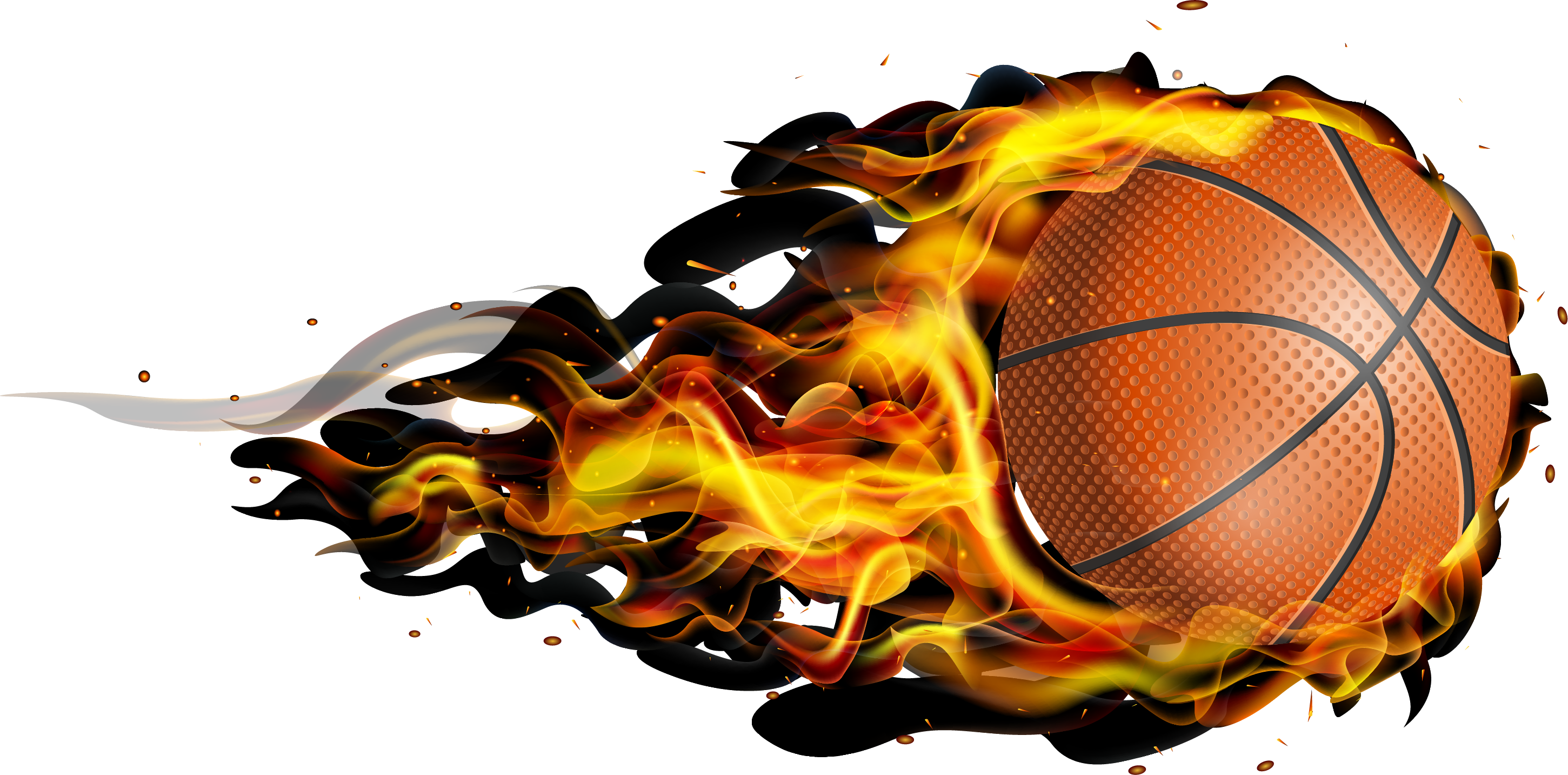 Free flaming basketball clipart free Flying fireball basketball 2901*1433 transprent Png Free Download ... free