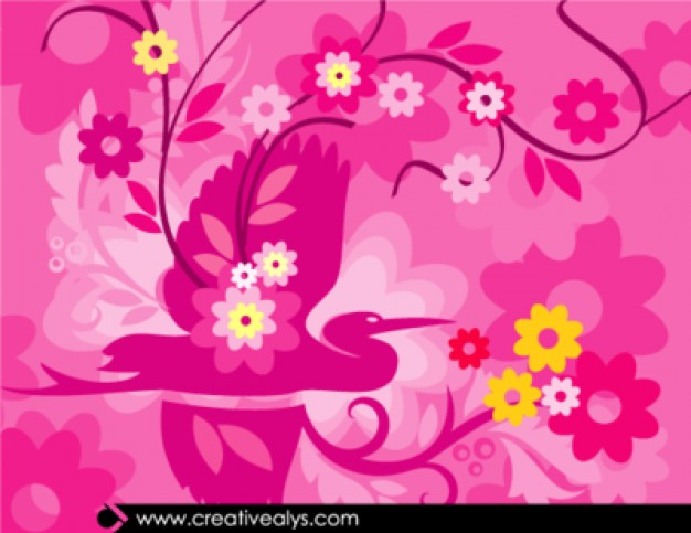 Free floral artwork graphic black and white stock Floral artwork in pinkish color scheme Vector | Free Download graphic black and white stock