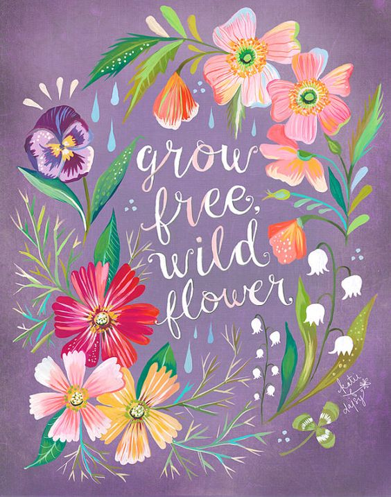 Free floral artwork transparent Purple Grow Free, Wildflower Art Print | Watercolor Quote | Floral ... transparent