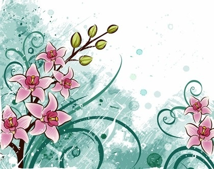 Free floral background clipart. Grunge vector download for