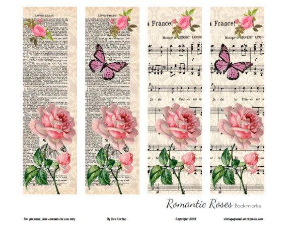 Printable download romantic rose. Free floral clipart for a bookmark