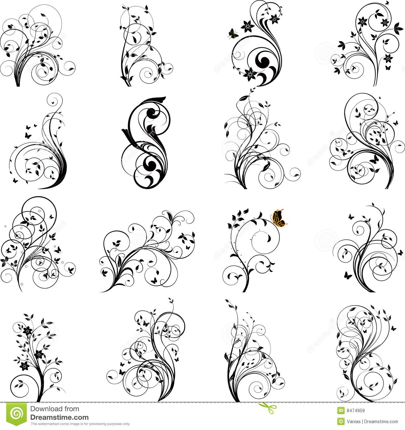 Free floral images download svg download Set Of Floral Elements Vector Royalty Free Stock Images - Image ... svg download