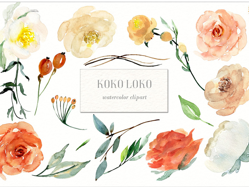 Watercolor flowers clipart free clip transparent download Koko Loko. Watercolor floral clipart - FREE Download by Graphic ... clip transparent download