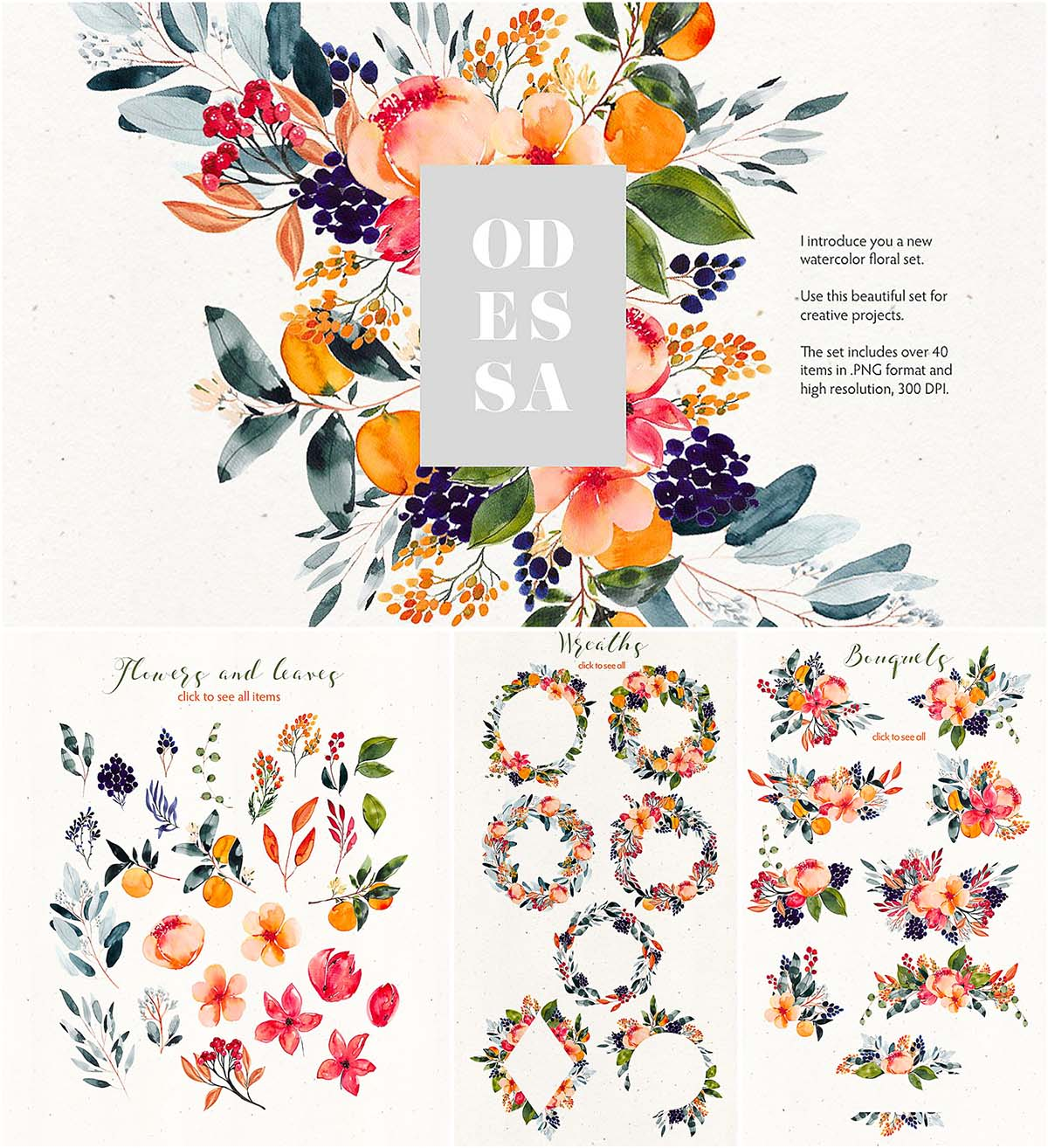 Water color clipart free banner free Odessa floral watercolor clipart | Free download banner free