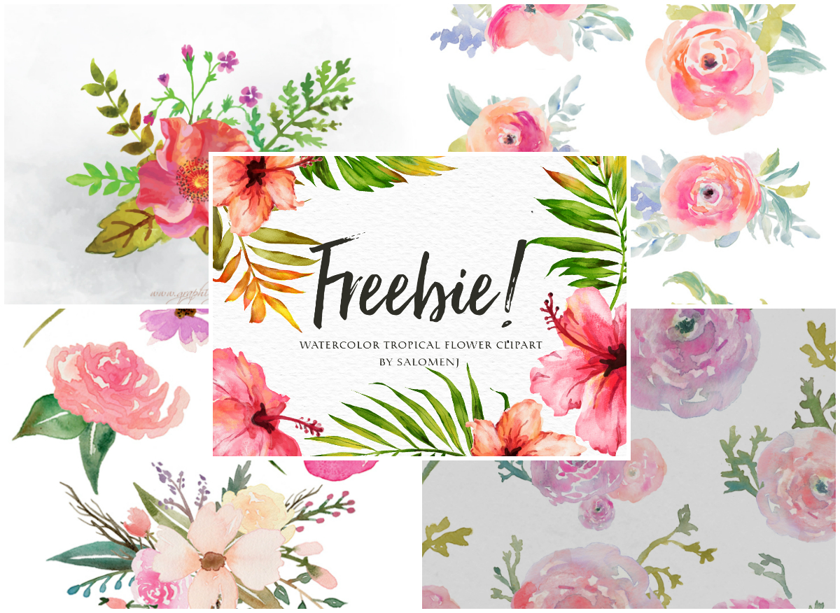 Watercolor flowers clipart free svg royalty free A Collection of 240+ Free Watercolor Floral Elements svg royalty free
