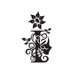 Free flower a letter clipart black and white clipart free stock Flower Clipart - Black Alphabet I with White Background | Download ... clipart free stock