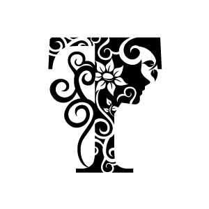 Free flower a letter clipart black and white svg Flower Clipart - Black Alphabet T with White Background | Download ... svg