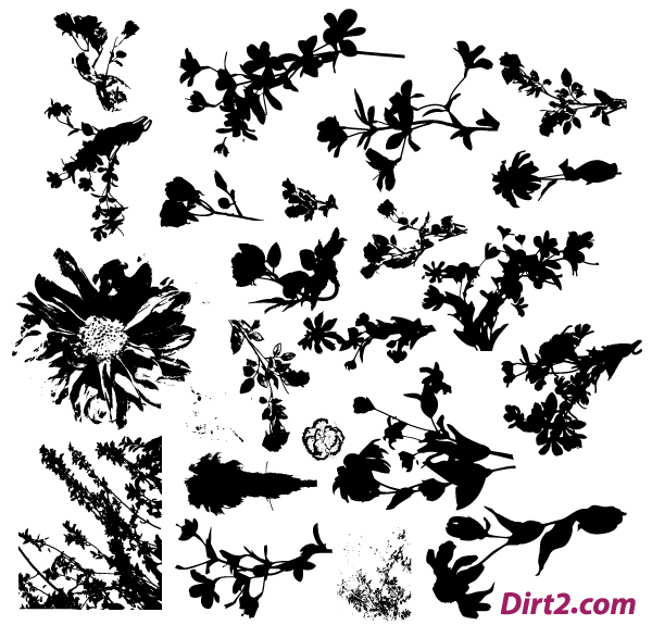 Free flower silhouette clipart. Floral vector pack