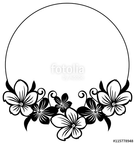 Free flower silhouette clipart jpg royalty free Black and white round frame with abstract flowers silhouettes ... jpg royalty free
