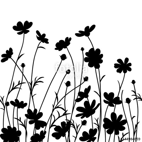 Free flower silhouette clipart clip freeuse library Summer garden. Cosmos flower silhouette isolated on white. Vector ... clip freeuse library