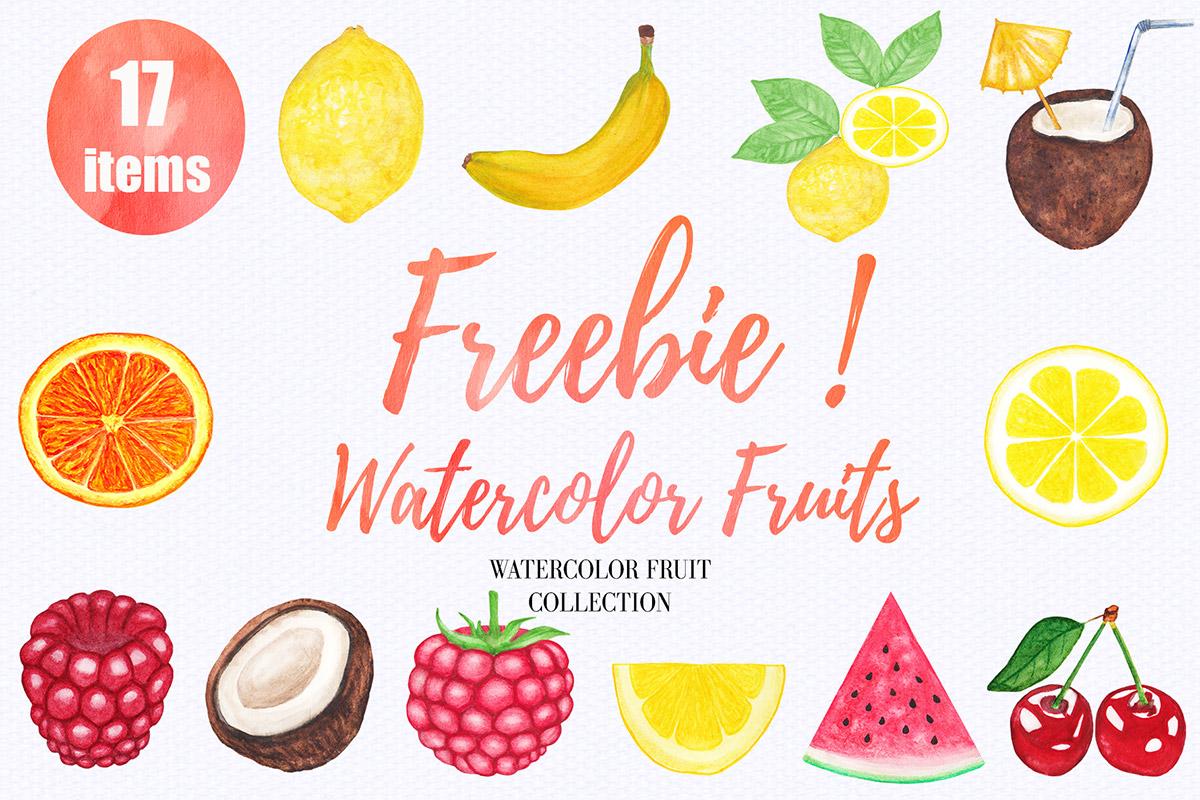 Watercolor fruit clipart