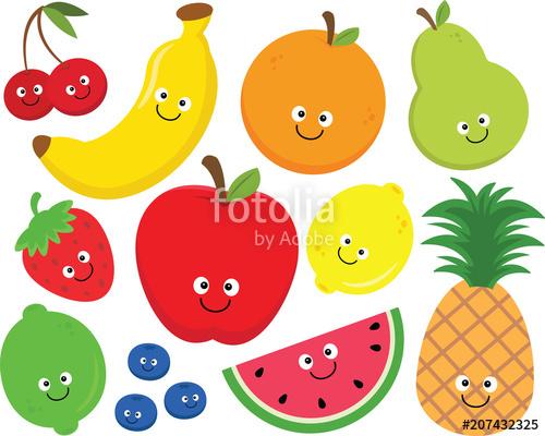 Free fruit clipart transparent stock Happy Fruit Clipart Set\
