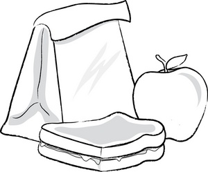Lunch image food . Free fruits in bag clipart black and white