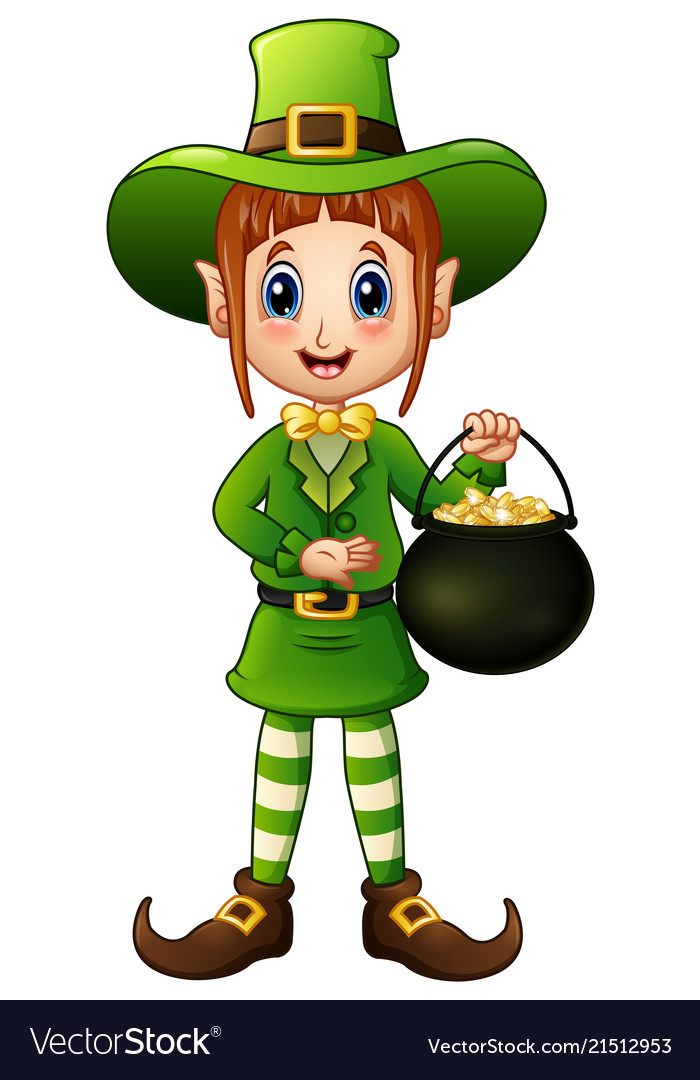 Free girl leprechaun clipart svg freeuse Cartoon girl leprechaun holding a pot of gold svg freeuse