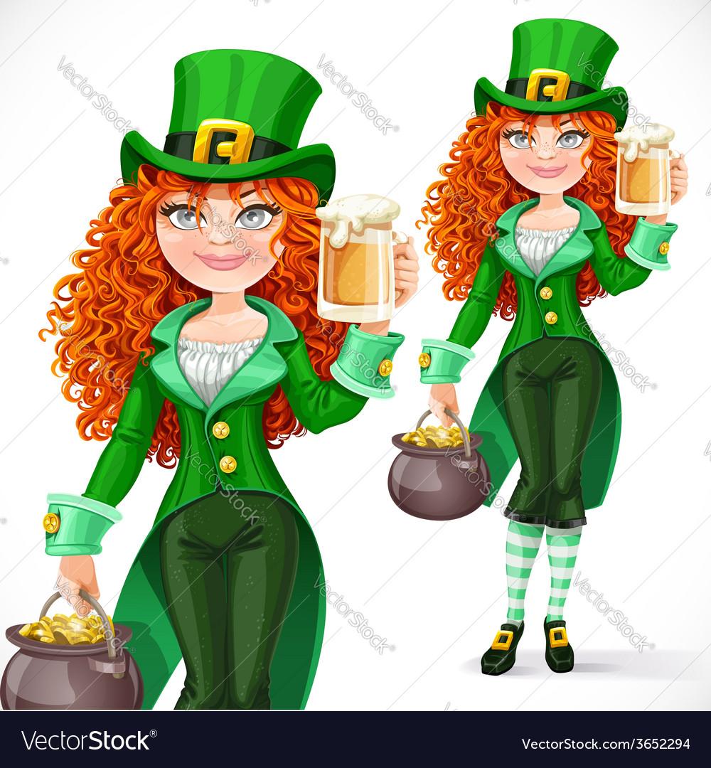 Free girl leprechaun clipart jpg stock Beautiful girl leprechaun with pot of gold offers jpg stock