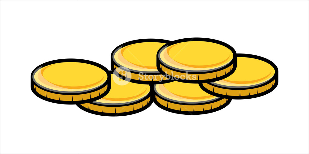 Free gold coin clipart. Cartoon coins vector illustration