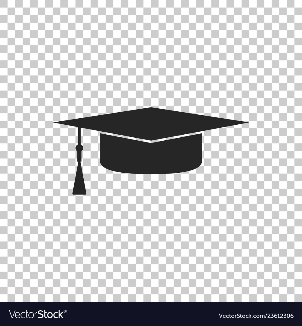 Free graduation cap clipart black and white transparent background. Icon on vector image