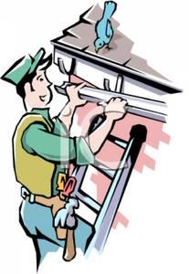 A cartoon of man. Free gutter clipart