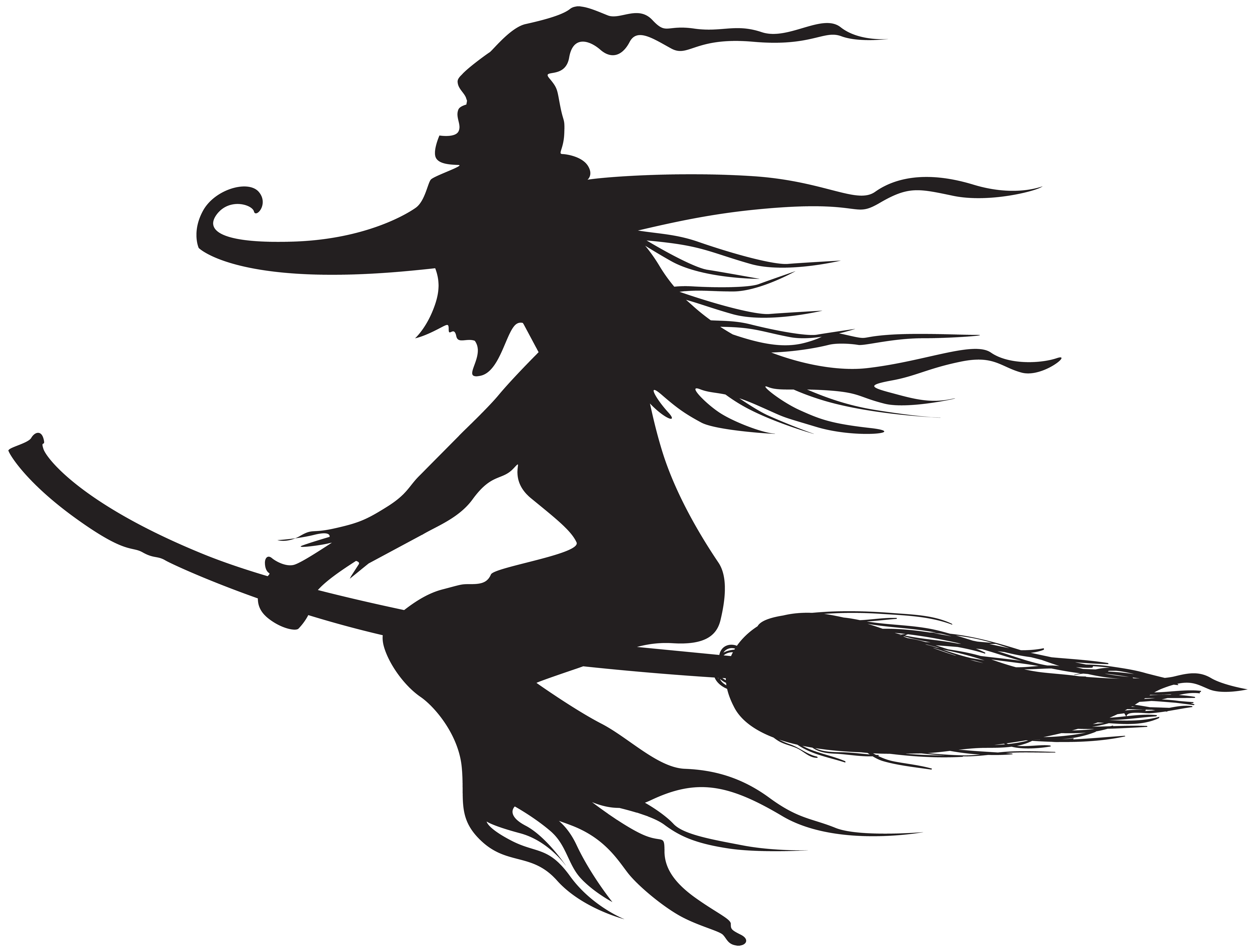 Halloween witch clipart black and white vector freeuse download Halloween Witch Silhouette PNG Clip Art | Gallery Yopriceville ... vector freeuse download