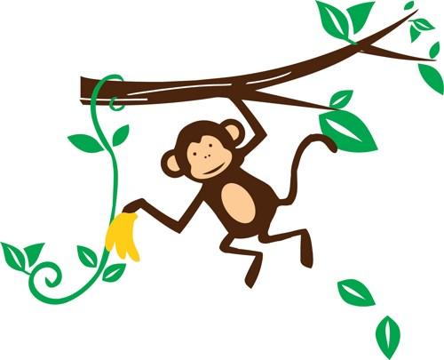 Monkey on vine clipart