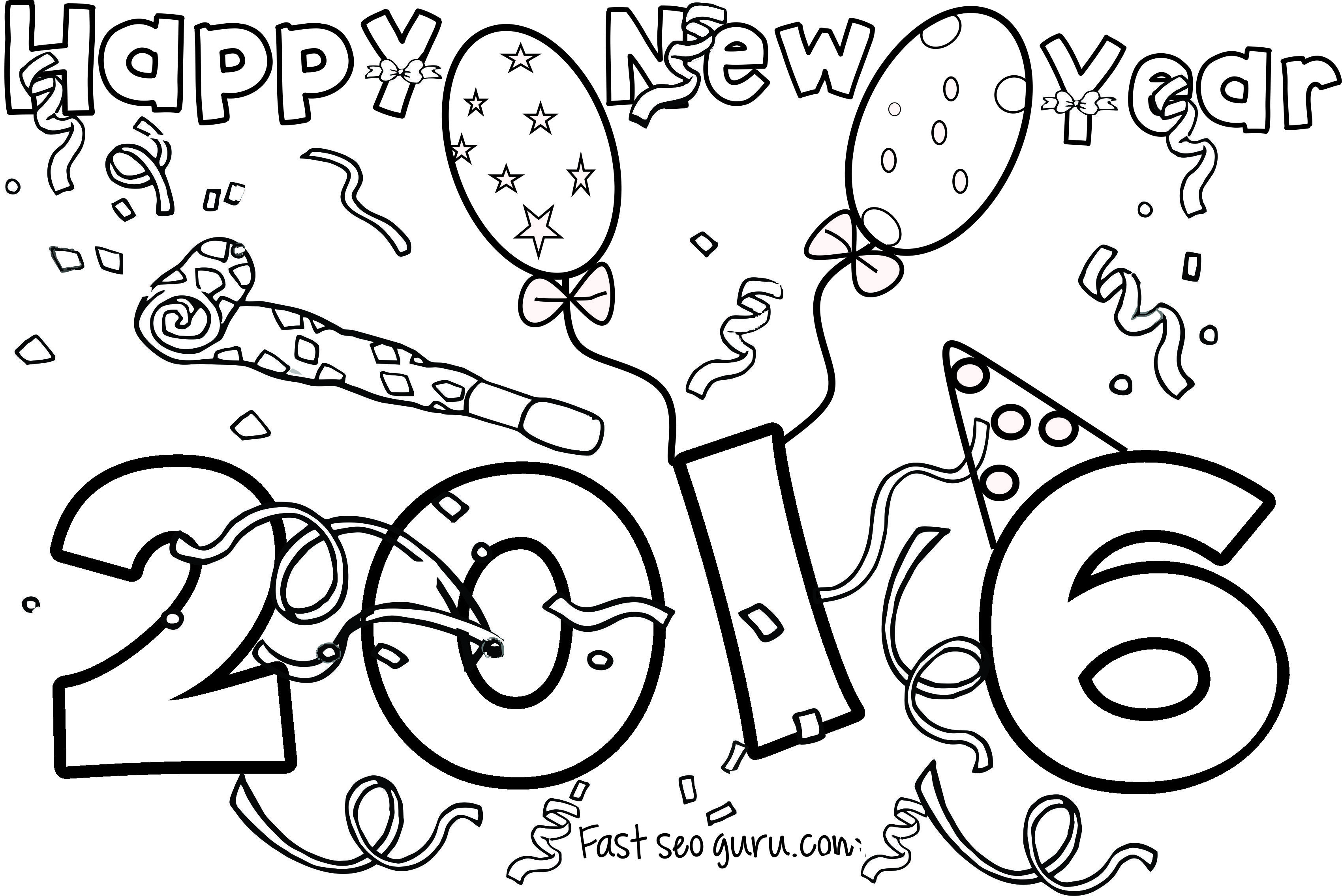 Free happy 2016 black & white clipart clipart black and white stock Free Printable 2016 Happy New Year Clipart & Clip Art Images #11285 ... clipart black and white stock
