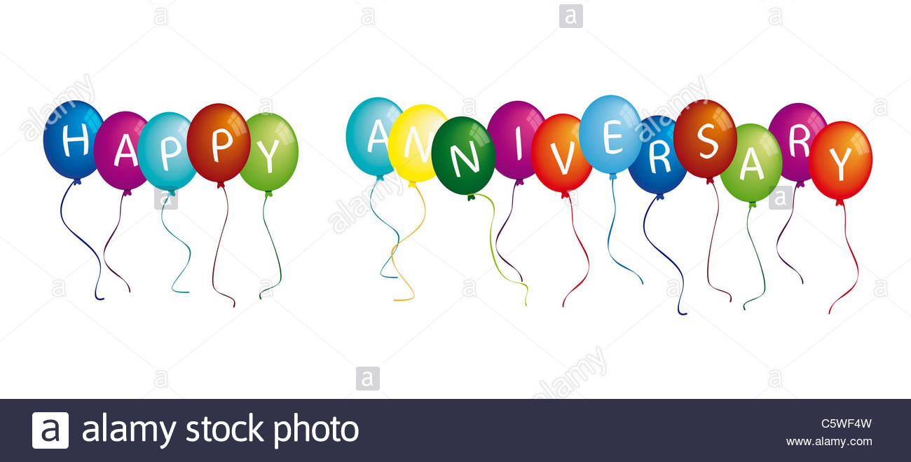 Free happy anniversary background clipart free stock Happy Anniversary On Colourful Balloons Against White Background ... free stock