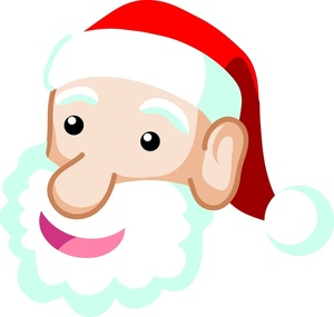 Free happy face with santa hat clipart jpg library stock Free Santa Claus Clipart Image - Face of Santa Claus with Fluffy ... jpg library stock
