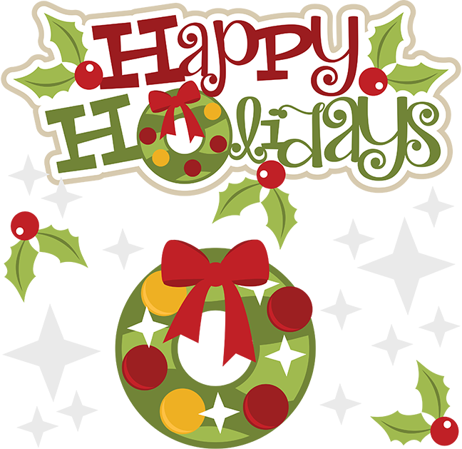 Collection of happy holidays. Free holiday potluck clipart