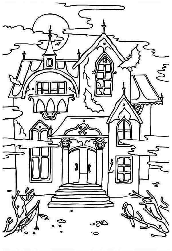 Free haunted house clipart black and white graphic free stock Free Printable Haunted House Coloring Pages For Kids   Home - Look ... graphic free stock