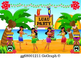 Free hawaiian luau clipart banner black and white Luau Clip Art - Royalty Free - GoGraph banner black and white
