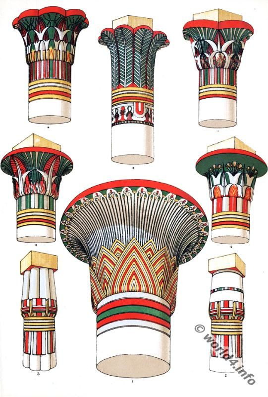 Free hd clipart egyptian painted column designs graphic freeuse stock Columns of the Temple of Luxor decorations. Ancient Egyptian ... graphic freeuse stock