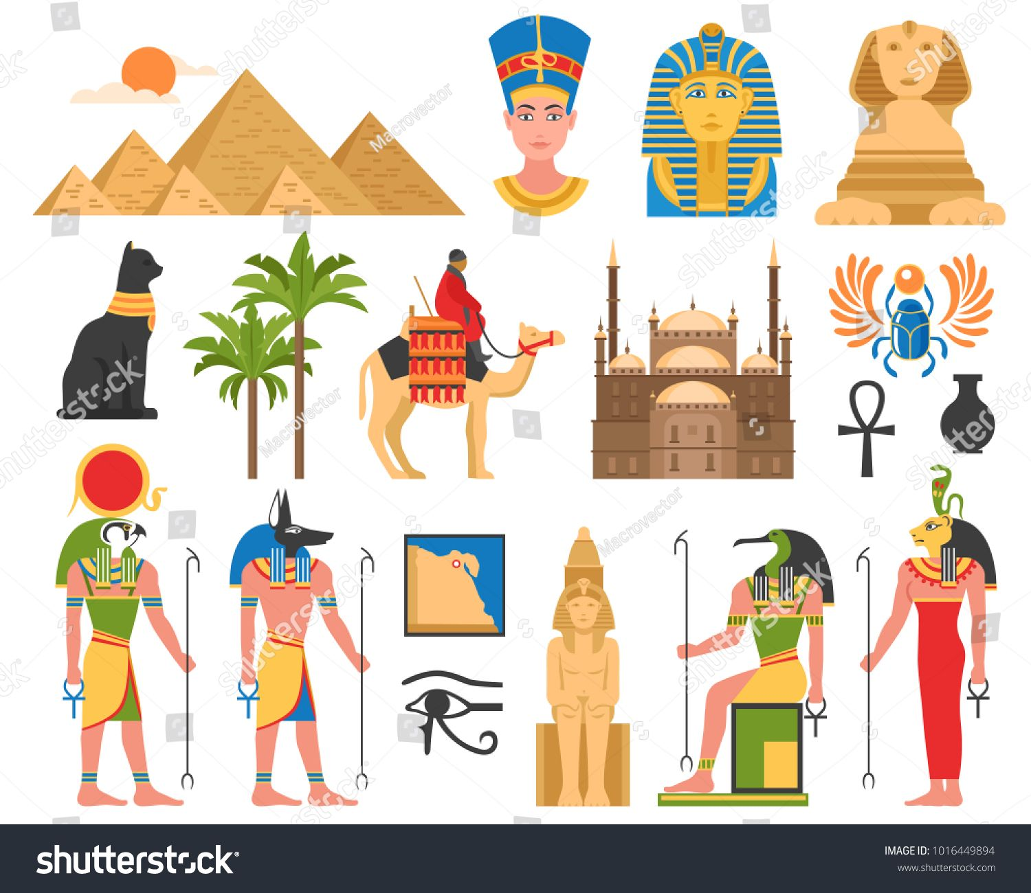 Free hd clipart egyptian painted column designs clip free library Egypt set of ancient egyptian idols statues and architectural ... clip free library