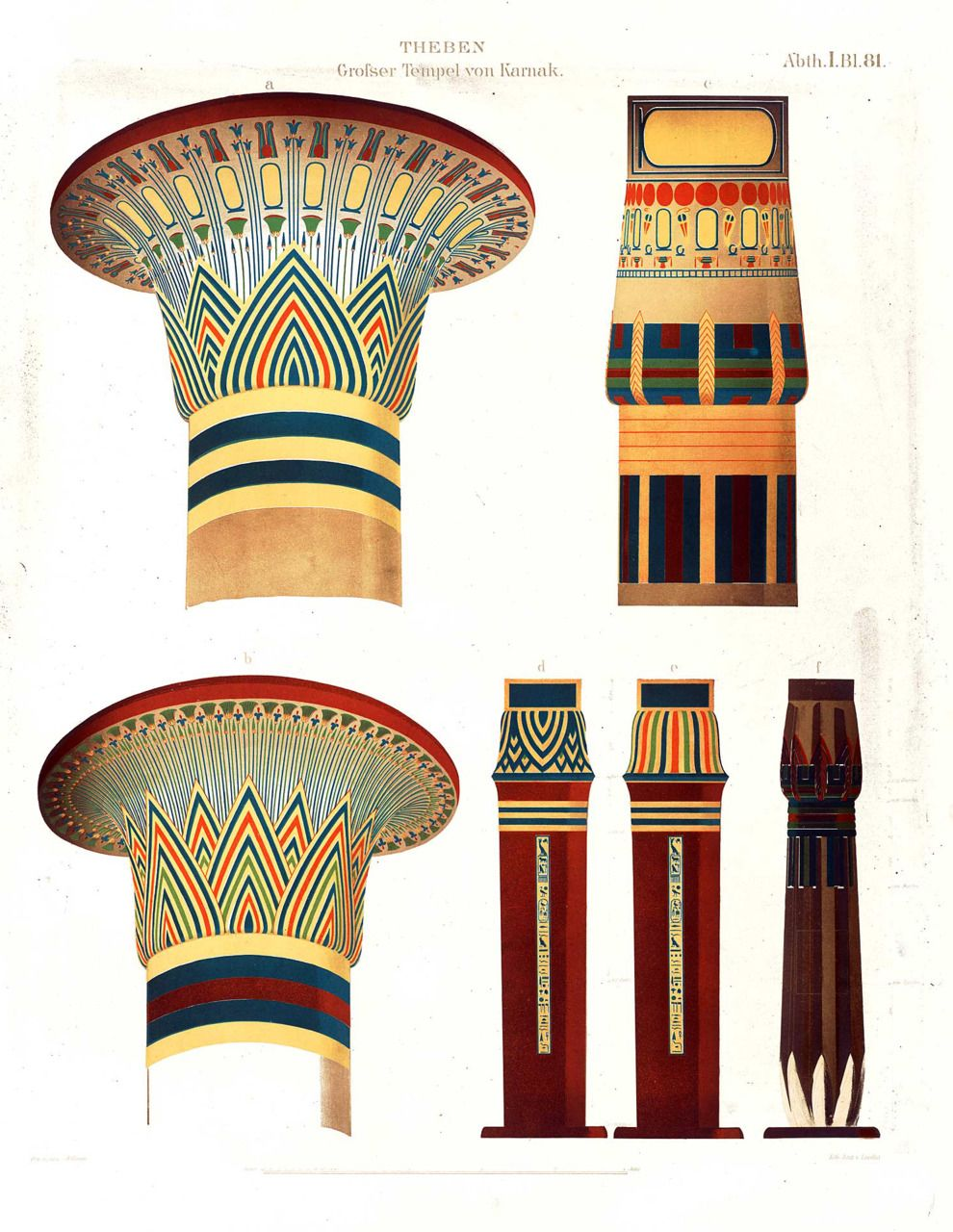 Free hd clipart egyptian painted column designs image freeuse Column designs from the great temple of Karnak at Thebes | Columns ... image freeuse