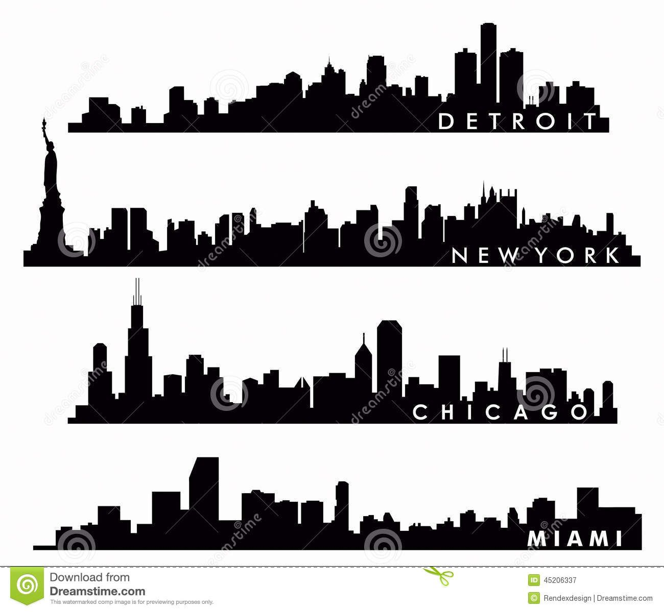 Free hd vector images of detroit skyline clipart vector freeuse download New York Skyline, Chicago Skyline, Miami Skyline, Detroit Skyline ... vector freeuse download