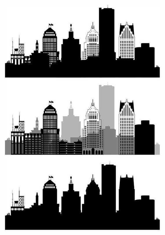 Free hd vector images of detroit skyline clipart clip royalty free stock Detroit Skyline SVG, Detroit Vector panorama, Michigan Skyline ... clip royalty free stock