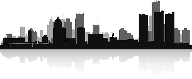 Free hd vector images of detroit skyline clipart vector black and white Detroit City Skyline Silhouette Vector Art Illustration - 253*612 ... vector black and white