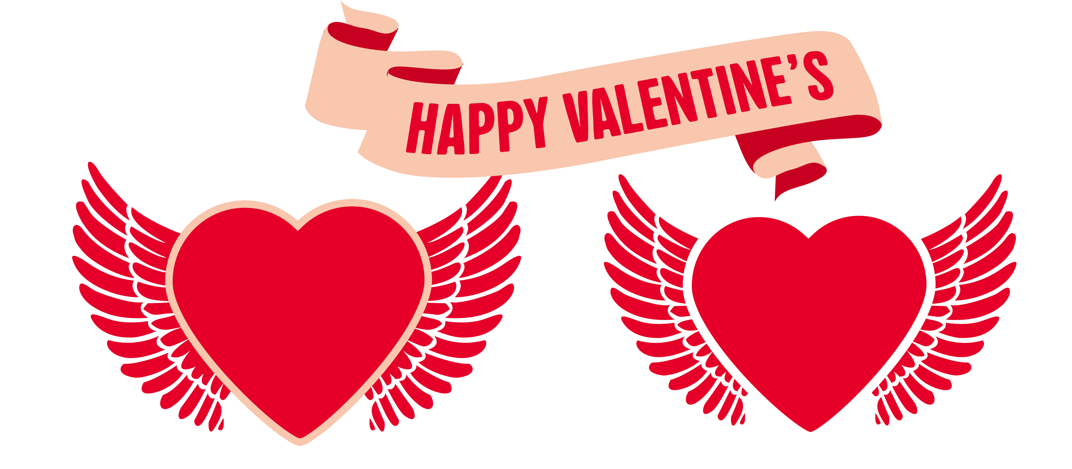Free heart with wings clipart image black and white stock Valentine's Day heart with wings 3688*1616 transprent Png Free ... image black and white stock