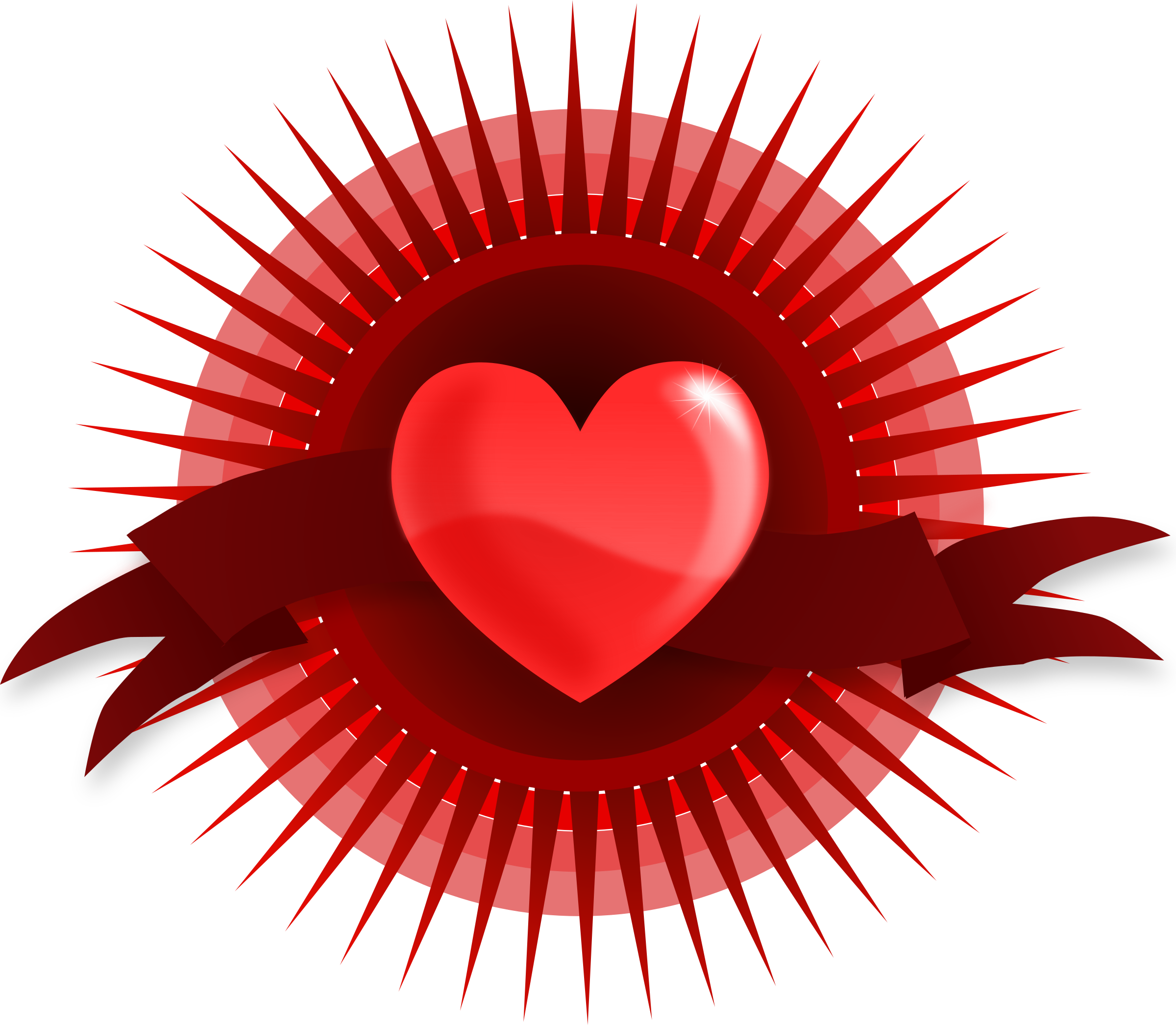 Free heart with wings clipart clipart library download Clipart - Heart with Rays and Banner clipart library download