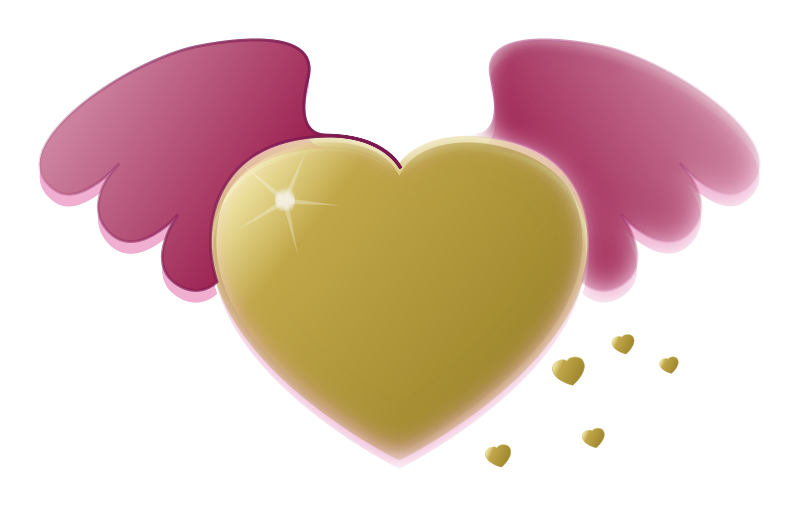 Free heart with wings clipart jpg black and white library Heart | Free Stock Photo | Illustration of a gold heart with wings ... jpg black and white library