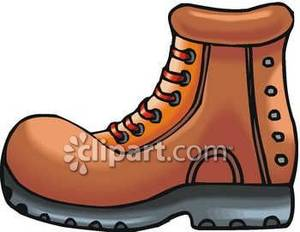 Free hiking boots and walking stick clipart. A brown boot royalty