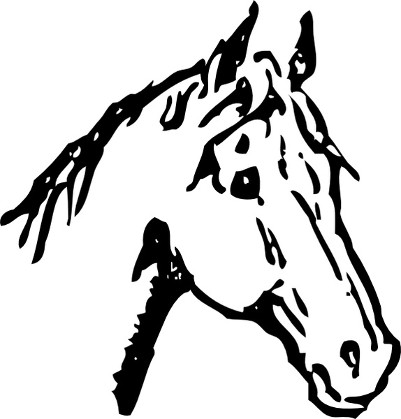 Free horse head clipart clipart black and white library Horse Head clip art Free vector in Open office drawing svg ( .svg ... clipart black and white library