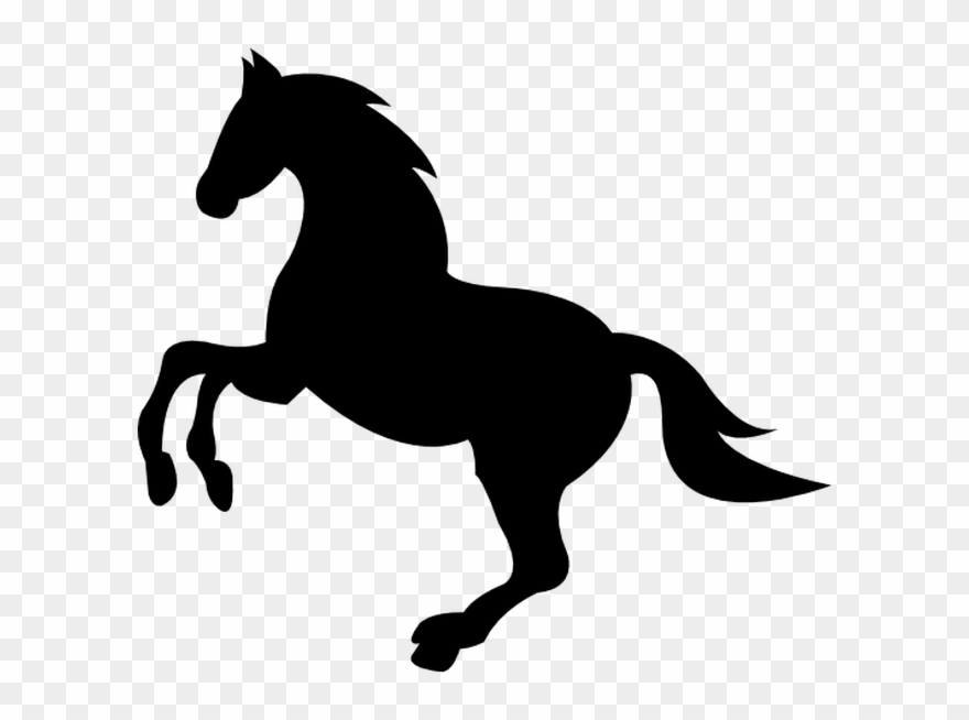 Free horse vector clipart. Wild black lifting front