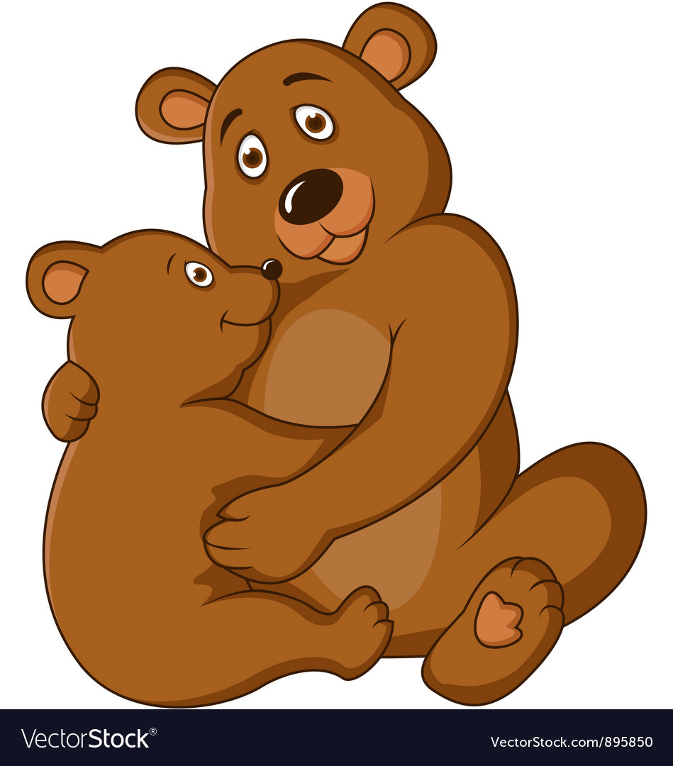 Mama and baby bear clipart