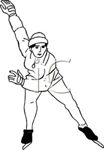 Free ice skater clipart black and white image free library A Black and White Cartoon of a Female Ice Skater Skating on Ice ... image free library