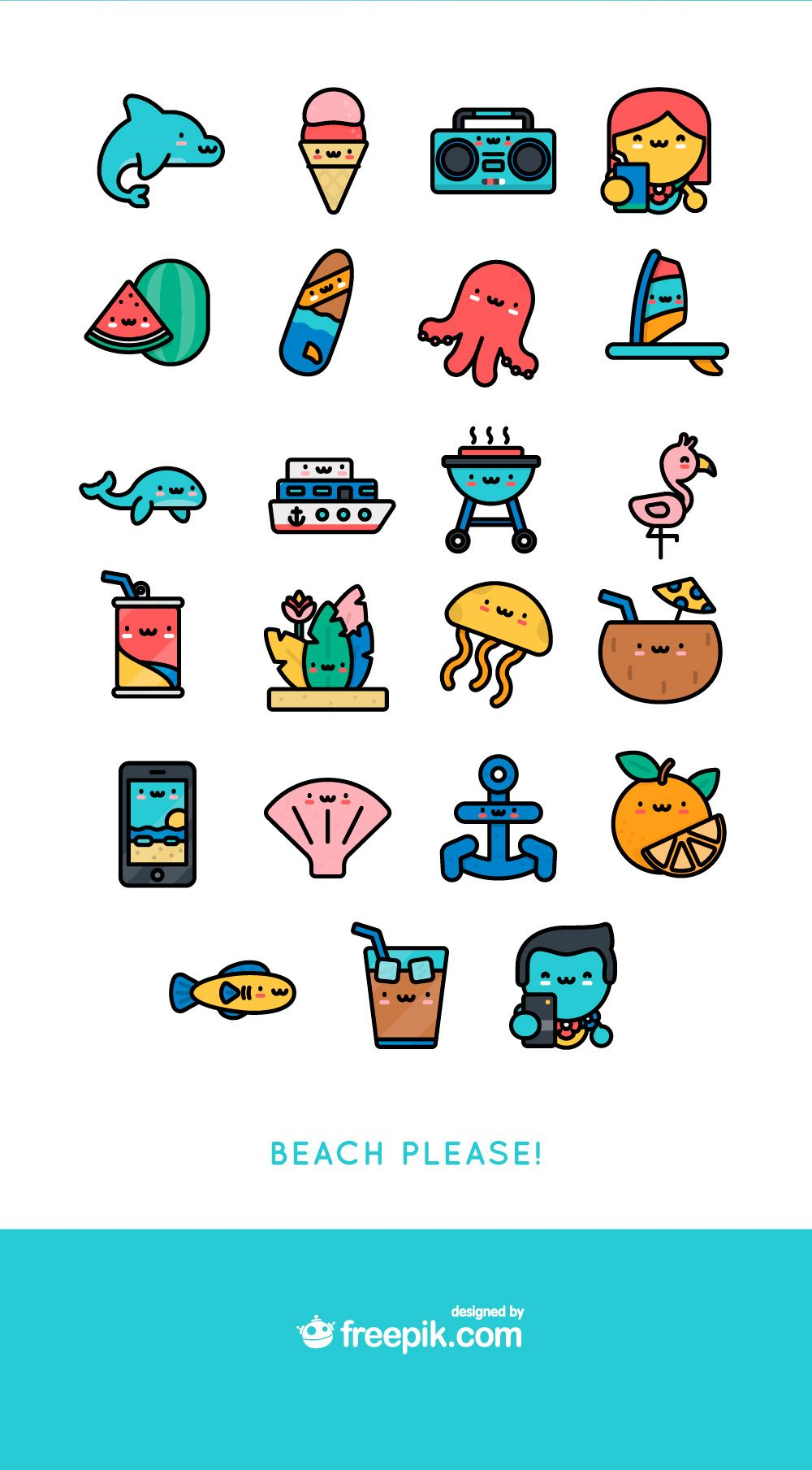 Kawaii summer icon illustrations. Free icons clipart download pack