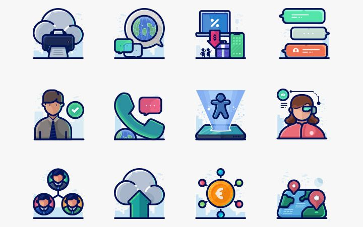 Free icons clipart download pack. Detailed filled outline round