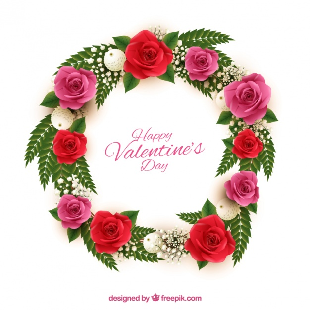 Free images of valentine flowers picture freeuse Beautiful wreath with red and pink flowers for valentine's day ... picture freeuse