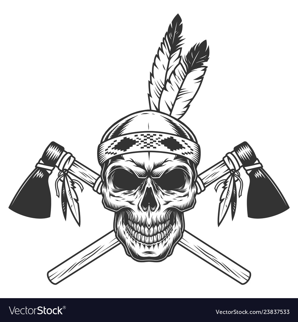 Free indian warrior clipart graphic black and white download Vintage monochrome indian warrior skull graphic black and white download