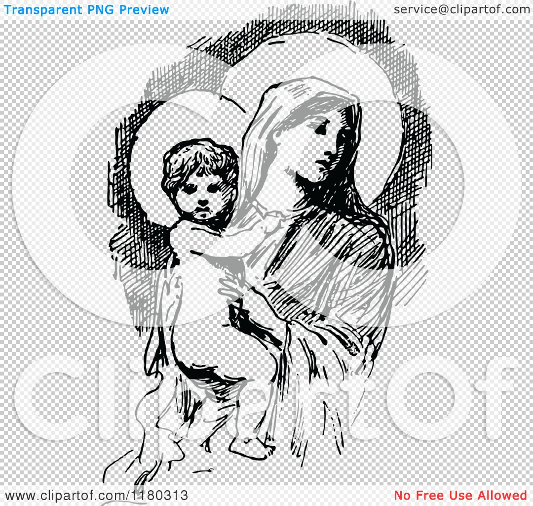 Free jesus and mary clipart clip art library download Clipart of a Retro Vintage Black and White Baby Jesus and Mary ... clip art library download